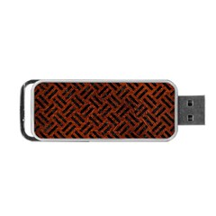 Woven2 Black Marble & Reddish Brown Leather Portable Usb Flash (two Sides) by trendistuff