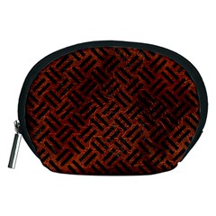 Woven2 Black Marble & Reddish Brown Leather Accessory Pouches (medium)  by trendistuff