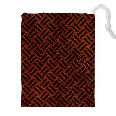 Woven2 Black Marble & Reddish Brown Leather Drawstring Pouches (xxl) by trendistuff