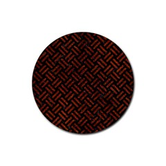 Woven2 Black Marble & Reddish Brown Leather (r) Rubber Coaster (round)  by trendistuff