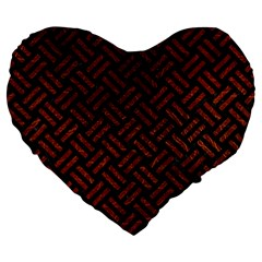 Woven2 Black Marble & Reddish Brown Leather (r) Large 19  Premium Heart Shape Cushions by trendistuff
