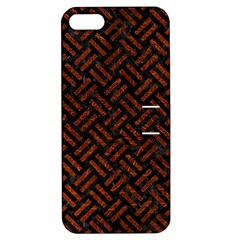 Woven2 Black Marble & Reddish Brown Leather (r) Apple Iphone 5 Hardshell Case With Stand by trendistuff