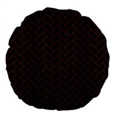 Brick2 Black Marble & Reddish Brown Wood (r) Large 18  Premium Flano Round Cushions by trendistuff
