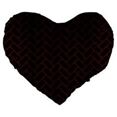 Brick2 Black Marble & Reddish Brown Wood (r) Large 19  Premium Flano Heart Shape Cushions by trendistuff