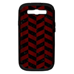 Chevron1 Black Marble & Reddish Brown Wood Samsung Galaxy S Iii Hardshell Case (pc+silicone) by trendistuff