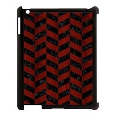 Chevron1 Black Marble & Reddish Brown Wood Apple Ipad 3/4 Case (black) by trendistuff