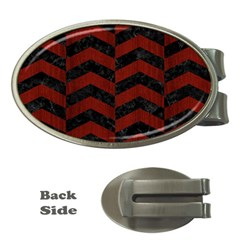 Chevron2 Black Marble & Reddish Brown Wood Money Clips (oval)  by trendistuff