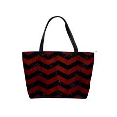 Chevron3 Black Marble & Reddish Brown Wood Shoulder Handbags by trendistuff