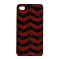 Chevron3 Black Marble & Reddish Brown Wood Apple Iphone 4/4s Seamless Case (black) by trendistuff