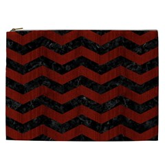 Chevron3 Black Marble & Reddish Brown Wood Cosmetic Bag (xxl)  by trendistuff
