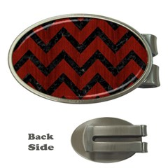 Chevron9 Black Marble & Reddish Brown Wood Money Clips (oval)  by trendistuff