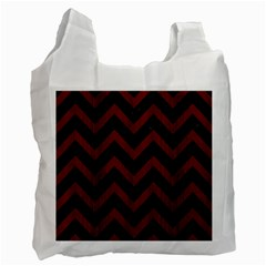 Chevron9 Black Marble & Reddish Brown Wood (r) Recycle Bag (one Side) by trendistuff
