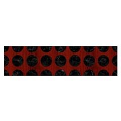 Circles1 Black Marble & Reddish Brown Wood Satin Scarf (oblong) by trendistuff