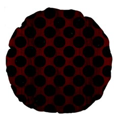 Circles2 Black Marble & Reddish Brown Wood Large 18  Premium Round Cushions by trendistuff