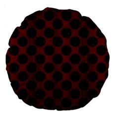 Circles2 Black Marble & Reddish Brown Wood Large 18  Premium Flano Round Cushions by trendistuff