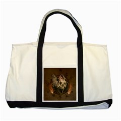 Awesome Creepy Skull With Rat And Wings Two Tone Tote Bag by FantasyWorld7