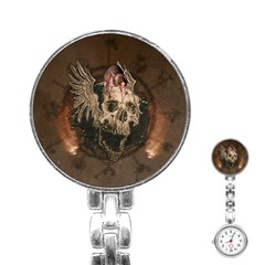Awesome Creepy Skull With Rat And Wings Stainless Steel Nurses Watch by FantasyWorld7
