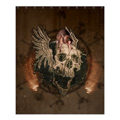 Awesome Creepy Skull With Rat And Wings Shower Curtain 60  X 72  (medium)  by FantasyWorld7