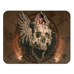 Awesome Creepy Skull With Rat And Wings Double Sided Flano Blanket (large)  by FantasyWorld7