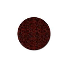 Damask2 Black Marble & Reddish Brown Wood (r) Golf Ball Marker (10 Pack) by trendistuff