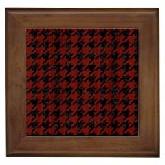 Houndstooth1 Black Marble & Reddish Brown Wood Framed Tiles by trendistuff