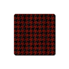 Houndstooth1 Black Marble & Reddish Brown Wood Square Magnet by trendistuff