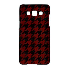 Houndstooth1 Black Marble & Reddish Brown Wood Samsung Galaxy A5 Hardshell Case  by trendistuff