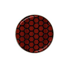 Hexagon2 Black Marble & Reddish Brown Wood Hat Clip Ball Marker (10 Pack) by trendistuff