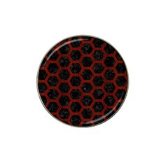 Hexagon2 Black Marble & Reddish Brown Wood (r) Hat Clip Ball Marker by trendistuff