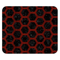 Hexagon2 Black Marble & Reddish Brown Wood (r) Double Sided Flano Blanket (small)  by trendistuff