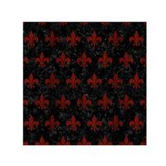 Royal1 Black Marble & Reddish Brown Wood Small Satin Scarf (square) by trendistuff