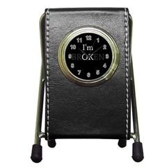 I Am Ok   Broken Pen Holder Desk Clocks by Valentinaart