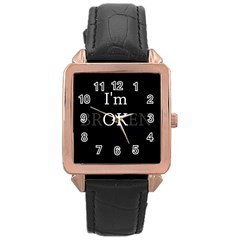 I Am Ok   Broken Rose Gold Leather Watch  by Valentinaart