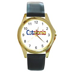 Catalonia Round Gold Metal Watch by Valentinaart