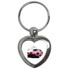 Elvis Presley s Pink Cadillac Key Chains (heart)  by Valentinaart