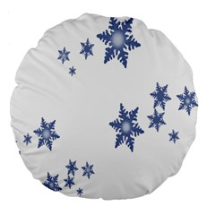 Star Snow Blue Rain Cool Large 18  Premium Flano Round Cushions by AnjaniArt