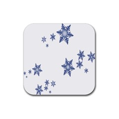 Star Snow Blue Rain Cool Rubber Coaster (square)  by AnjaniArt