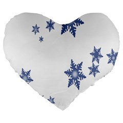 Star Snow Blue Rain Cool Large 19  Premium Flano Heart Shape Cushions by AnjaniArt