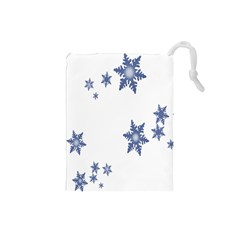 Star Snow Blue Rain Cool Drawstring Pouches (small)  by AnjaniArt