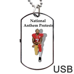 National Anthem Protest Dog Tag Usb Flash (one Side) by Valentinaart