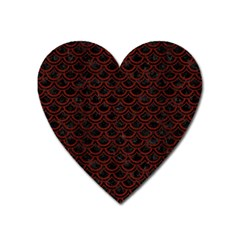 Scales2 Black Marble & Reddish Brown Wood (r) Heart Magnet by trendistuff