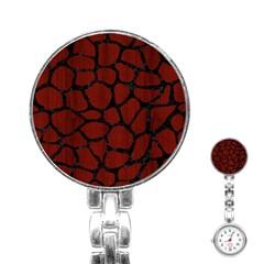 Skin1 Black Marble & Reddish Brown Wood (r) Stainless Steel Nurses Watch by trendistuff
