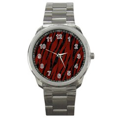 Skin3 Black Marble & Reddish Brown Wood Sport Metal Watch by trendistuff
