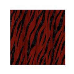 Skin3 Black Marble & Reddish Brown Wood Small Satin Scarf (square) by trendistuff