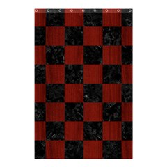 Square1 Black Marble & Reddish Brown Wood Shower Curtain 48  X 72  (small)  by trendistuff