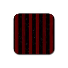 Stripes1 Black Marble & Reddish Brown Wood Rubber Square Coaster (4 Pack)  by trendistuff