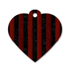 Stripes1 Black Marble & Reddish Brown Wood Dog Tag Heart (one Side) by trendistuff