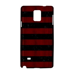 Stripes2 Black Marble & Reddish Brown Wood Samsung Galaxy Note 4 Hardshell Case by trendistuff