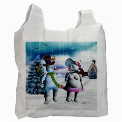 Funny, Cute Snowman And Snow Women In A Winter Landscape Recycle Bag (one Side) by FantasyWorld7