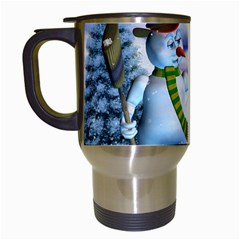 Funny, Cute Snowman And Snow Women In A Winter Landscape Travel Mugs (white) by FantasyWorld7